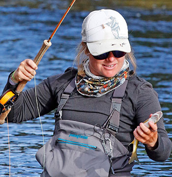 Flyfishing female with catch at Yampa River