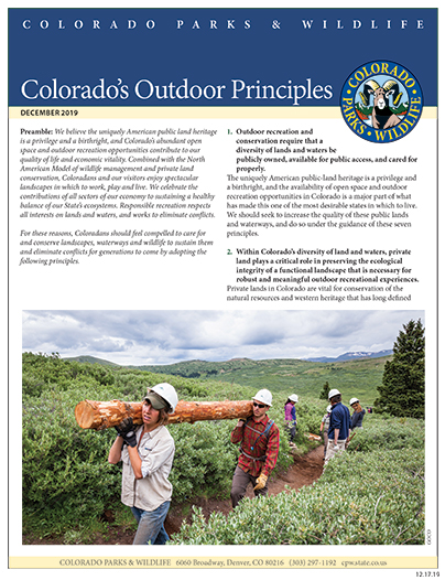 Colorado's Outdoor Principles