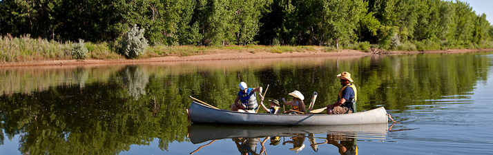 Family canoes at Chatfield State Park.