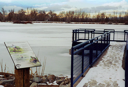 "Handicap Fishing Pier at Longmont's Button Rock Preserve, built with money from Colorado's ""Fishing is Fun"" Program"