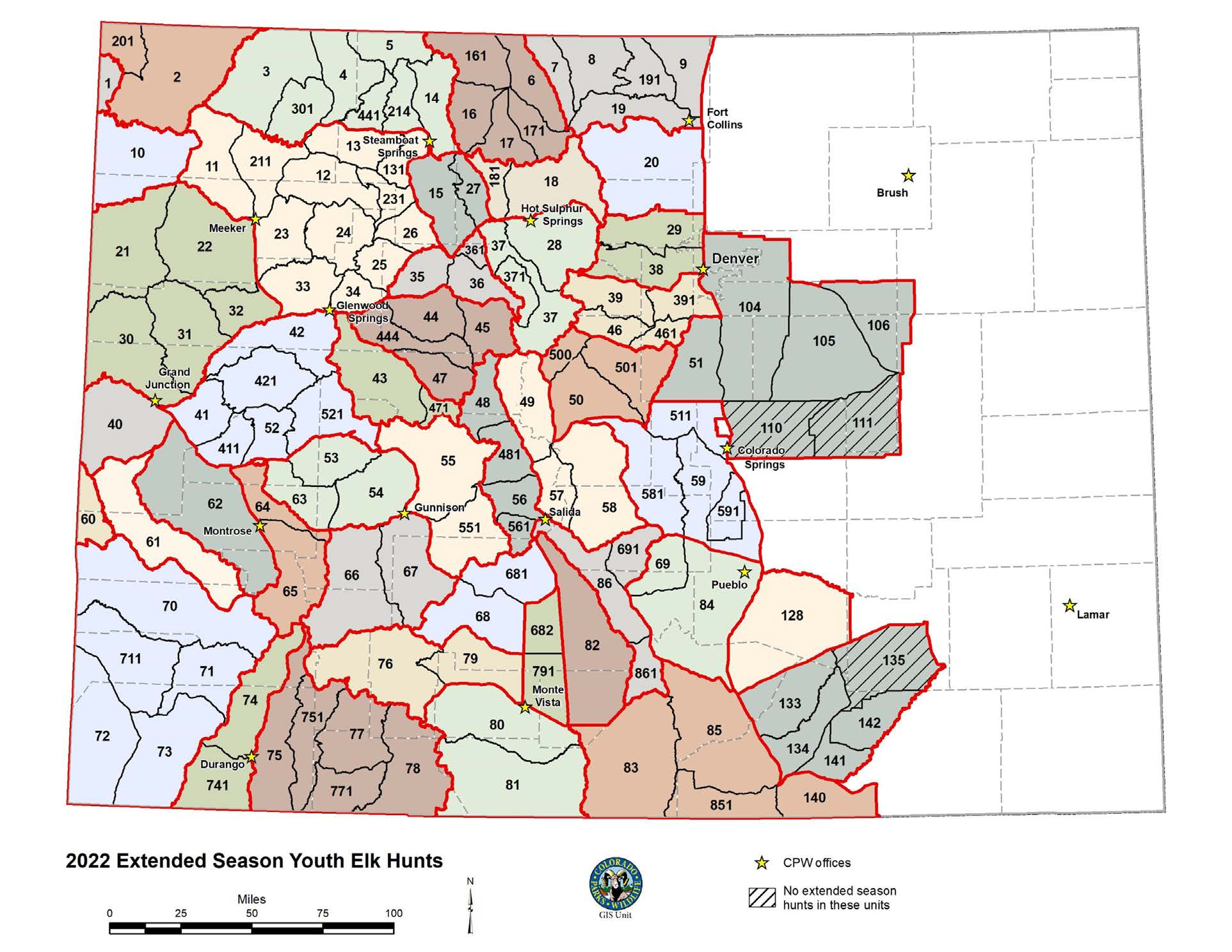 Youth Extended Elk season hunting Map