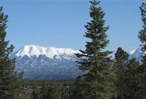 View of Culebra Peak, part of the Sangre De Cristo mountain range in southern Colorado, from the top of the Bosque Del Oso State