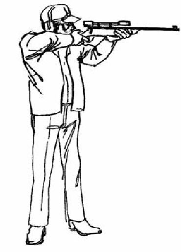 Hunter with gun drawing support for the rifle may