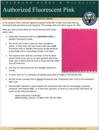 fluorescent pink fact sheet