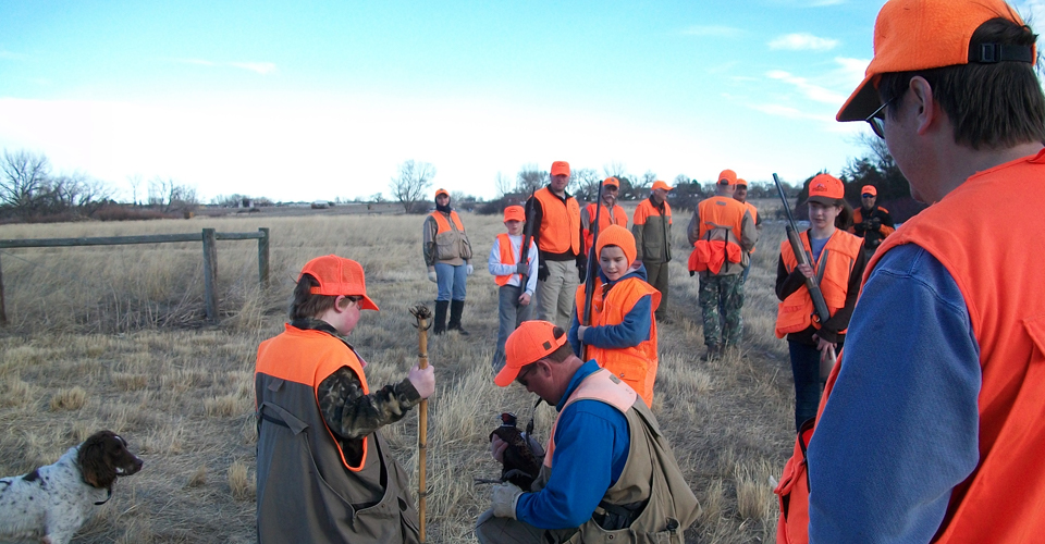 Youth Hunting group with Mentors - Pheasant Hunt