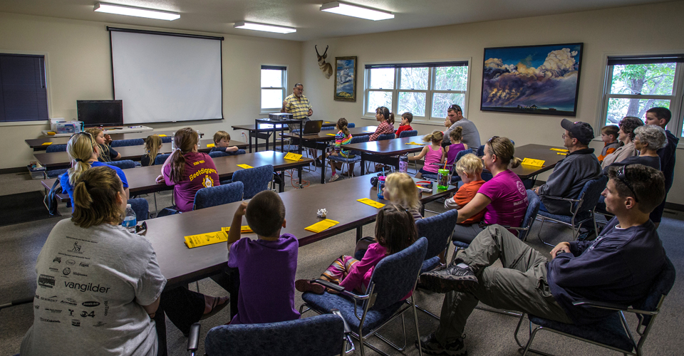 Hunter Outreach in the classroom at Jackson Lake State Park