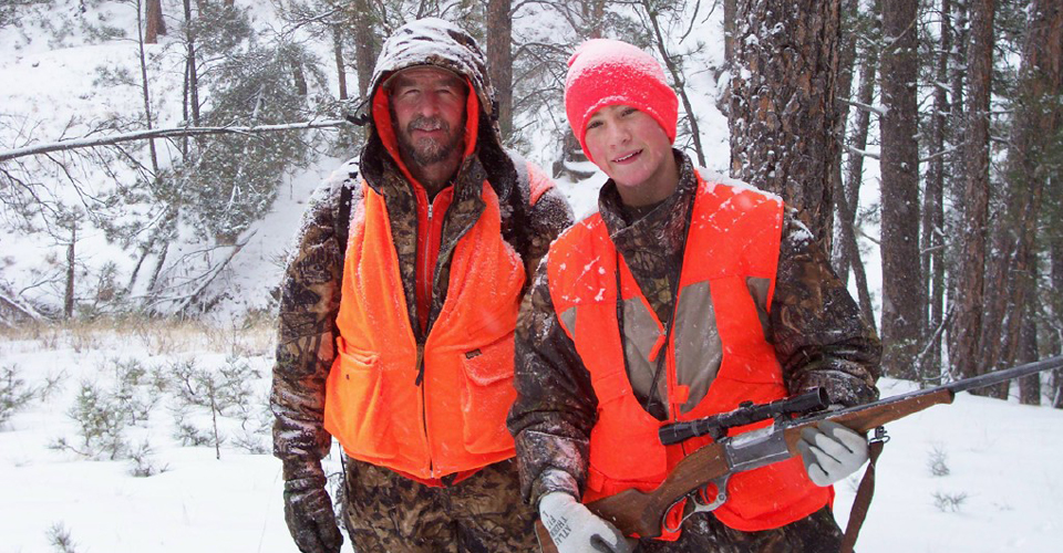 Mentor and youth hunter experience winter hunting.