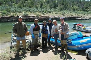 Employees on a fish research trip on the Dolores River
