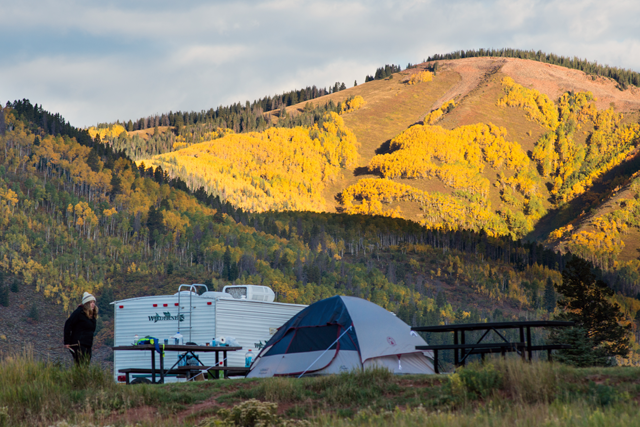 Spectacular fall camping at Sylvan Lake State Park.