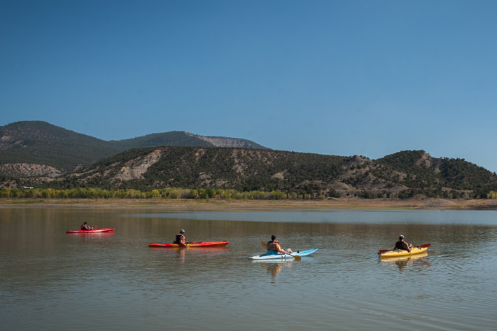 Four people kayaking