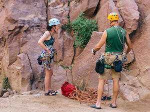 Climbers with gear