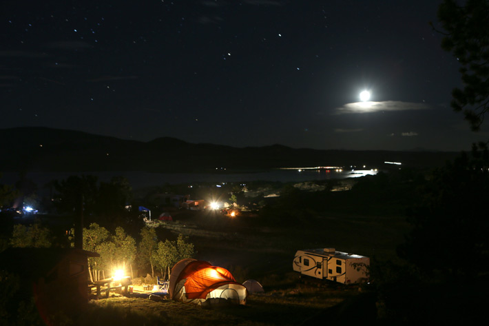 Eleven Mile campground, stars and full moon