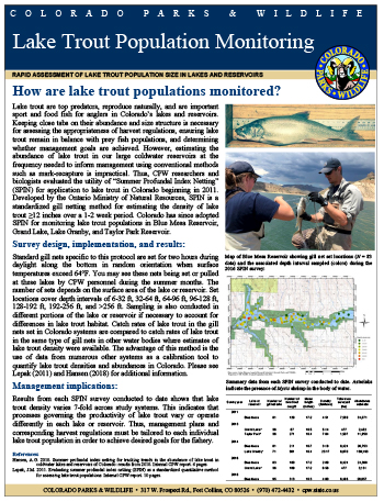 Lake Trout Population Monitoring cover