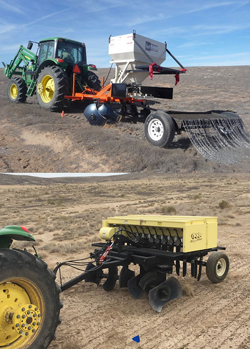 The 2012 pothole seeder (top) and the 2018 pothole seeder (bottom) image