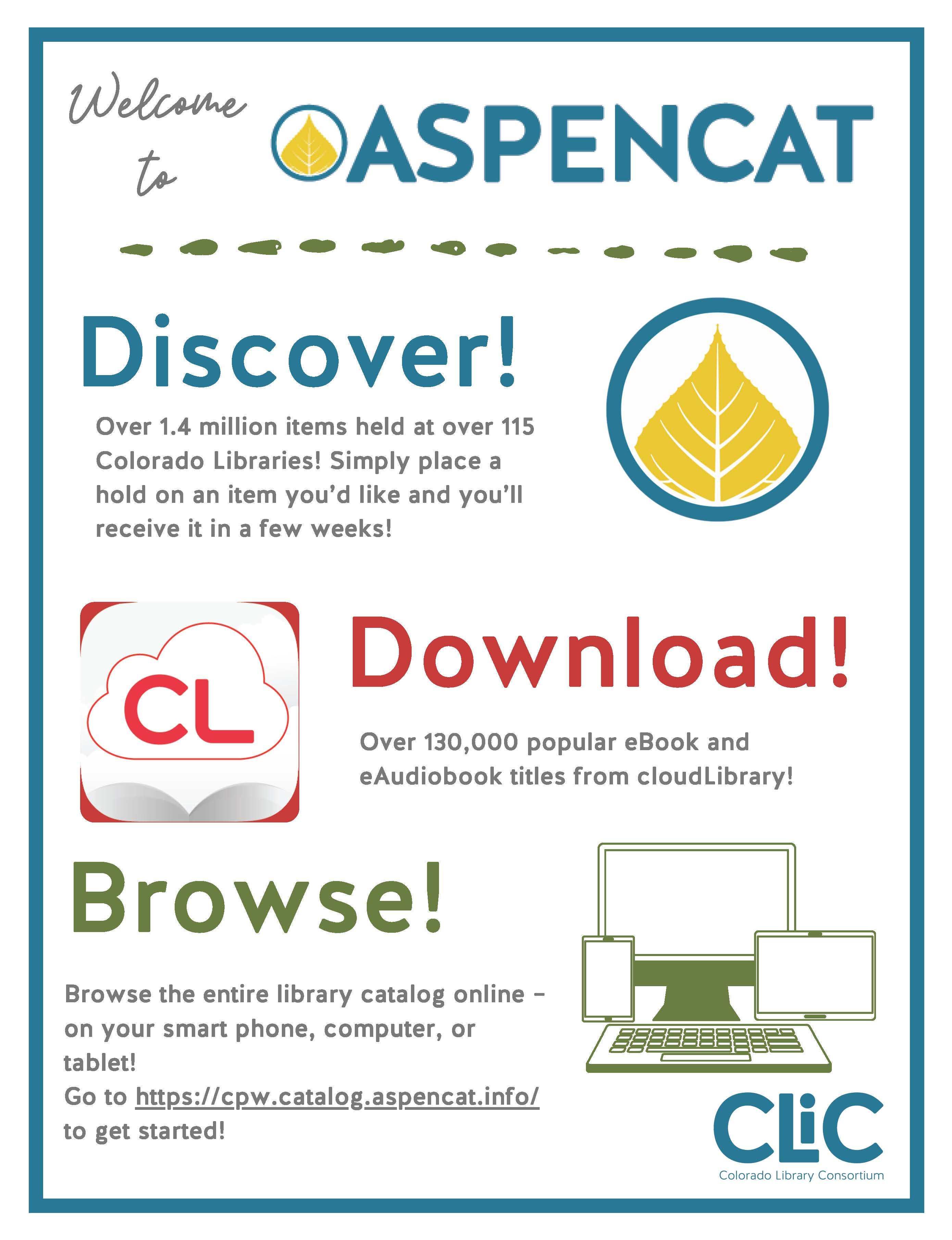 AspenCat: Discover over 1.4 million items at over 115 CO libraries. Download over 130,000 popular eBooks & eAudiobooks.