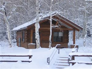Vega State Park cabin in winter