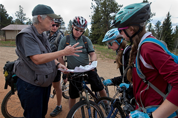 Mountain bikers discussing trail options at Staunton State Park. Photo by Ken Papaleo.