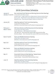 Upcoming Committee and Grant Schedule​