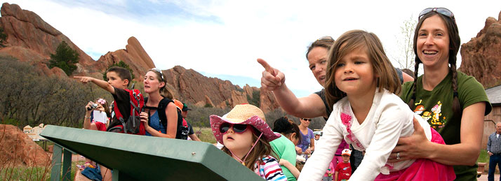 Families viewing wildlife at Roxborough State Park. Copyright Ken Papaleo.