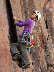 Woman Rock Climbing in Eldorado Canyon State Park. Photo by D. Hovorka.