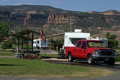 Truck with camping trailer at Fruita